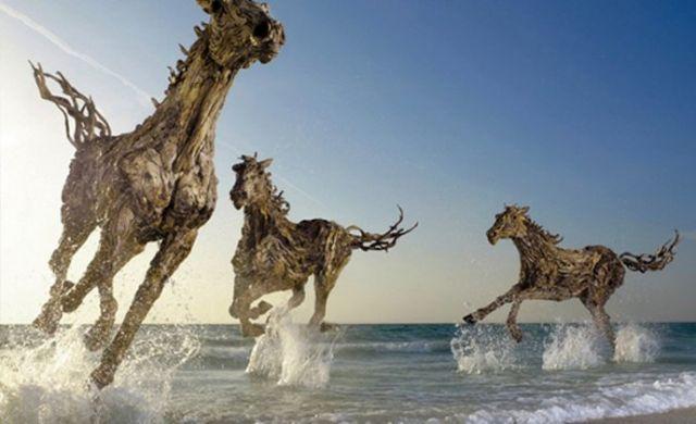 朽木雕塑美陈物品欣赏