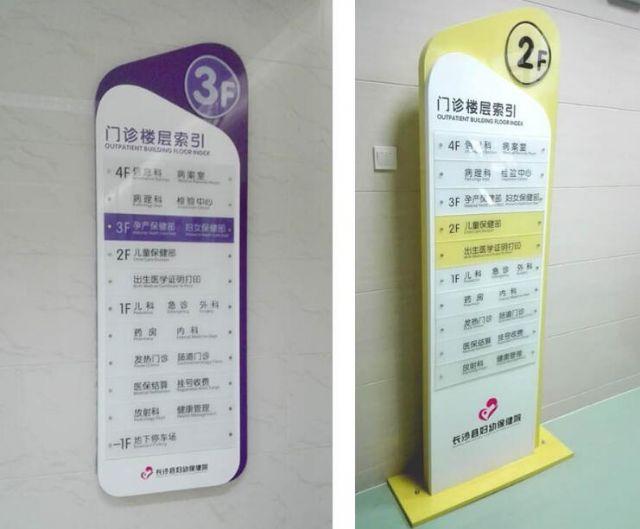长沙妇幼保健院标识标牌楼层指示设计图